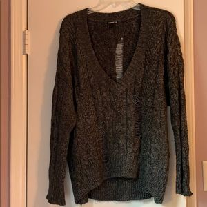 Distressed Chunky V-Neck Sweater